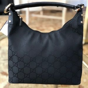 Gucci zip top GG Black Monogram canvas with silver